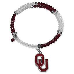 University of Oklahoma Metal Logo Pendant Football Bead Bracelet