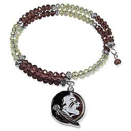 Florida State University Metal Logo Pendant Football Bead Bracelet