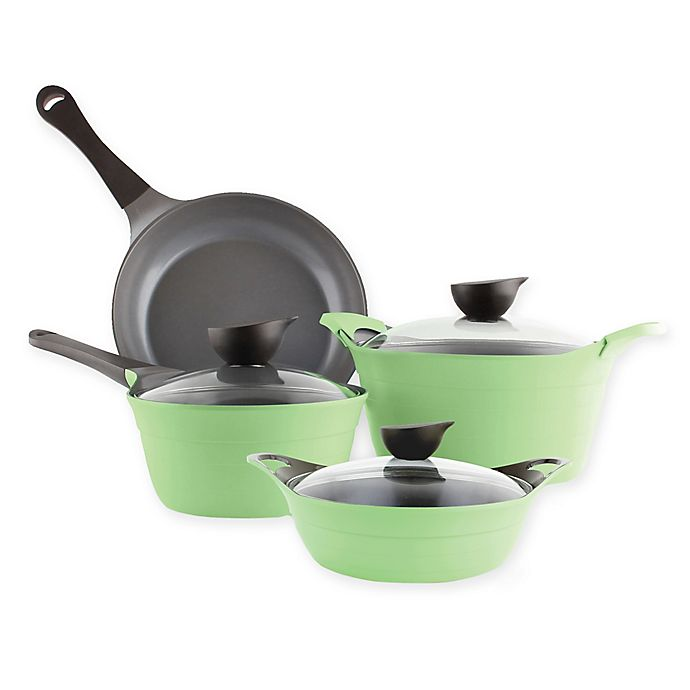 Alternate image 1 for Neoflam® Eela Ceramic Nonstick Cast Aluminum 7-Piece Cookware Set in Green