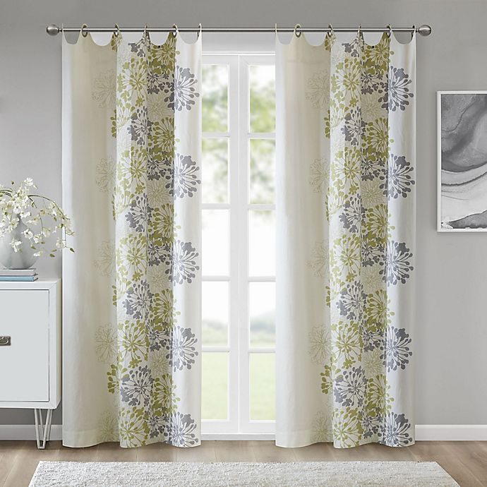 Alternate image 1 for Madison Park™ Anaya Cotton 63-Inch Grommet Top Window Curtain Panel in Green/White