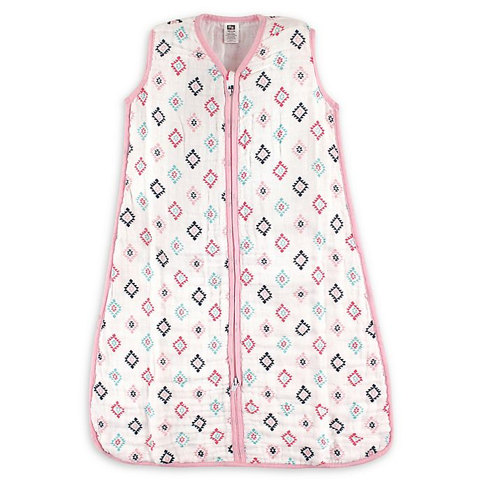 Alternate image 1 for Hudson Baby® Size 12-18M Aztec Cotton Muslin Sleeping Bag in Pink/Navy