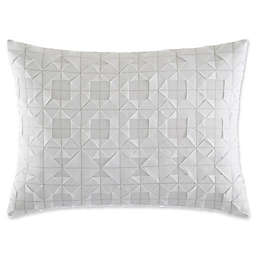 Vera Wang™ Tuille Floral Origami Stitching Oblong Throw Pillow in White