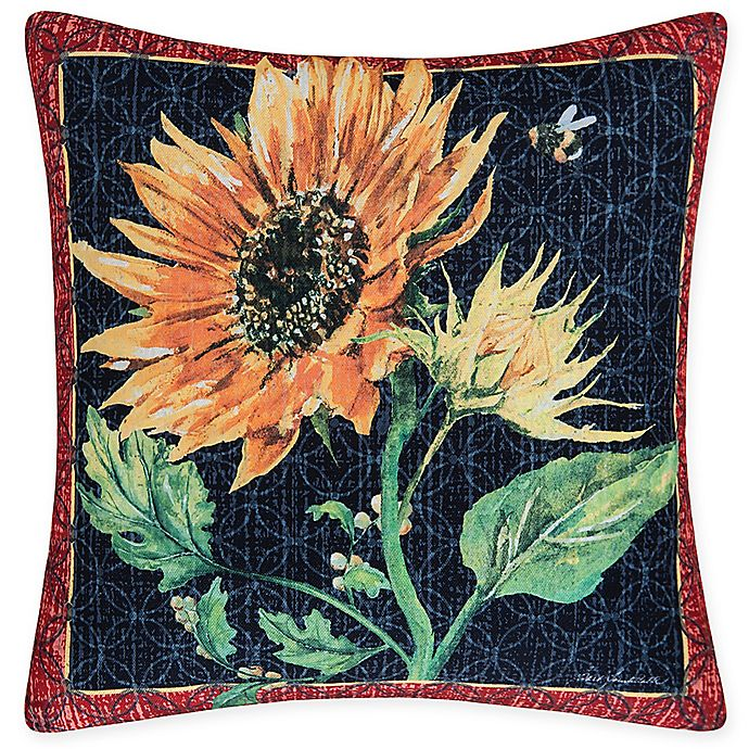 Alternate image 1 for C&F Home Sunflower & Bee Square Indoor/Outdoor Pillow in Yellow