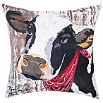 Farmhouse Cow Square Indoor/Outdoor Pillow in Red