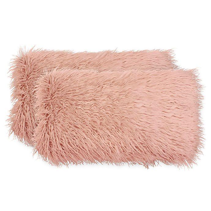 Alternate image 1 for Boho Living Mongolian Faux Fur Rectangular Decorative Pillows (Set of 2)