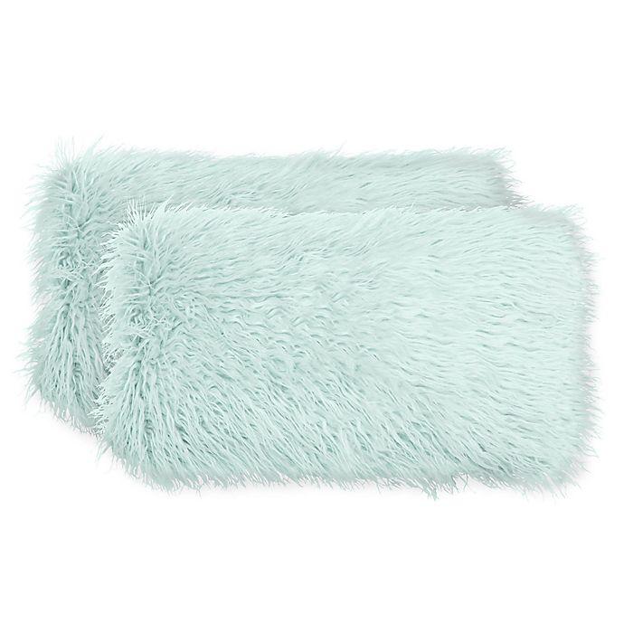 Alternate image 1 for Boho Living Mongolian Faux Fur Rectangular Decorative Pillows (Set of 2) in Aqua