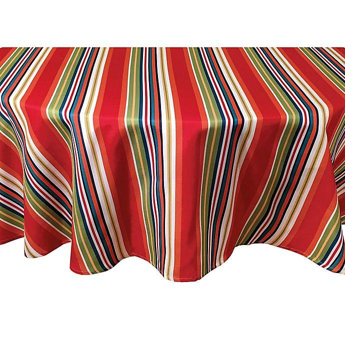 Alternate image 1 for Destination Summer Mystic Stripe 70-Inch Round Indoor/Outdoor Tablecloth