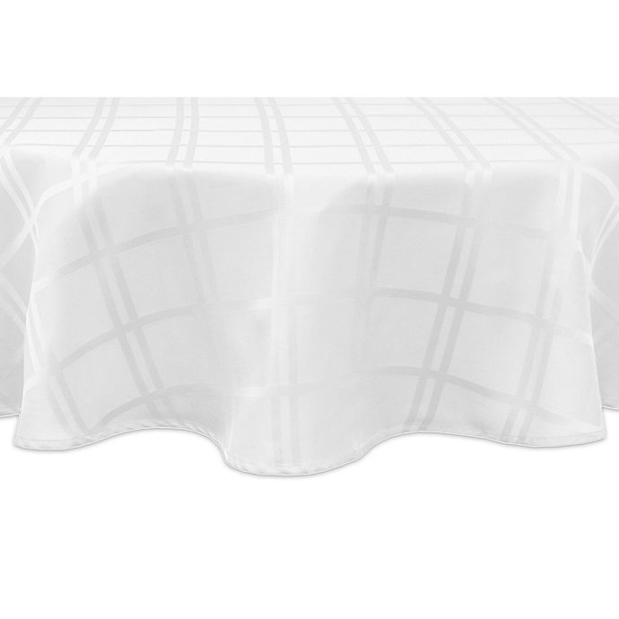 Alternate image 1 for Origins™ Microfiber 60-Inch Round Tablecloth in White