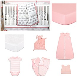 The PeanutShell™ Ellie Stripe 11-Piece Sleep Essentials Crib Set in Coral/Grey