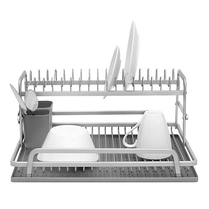 Alternate image 1 for Ta Da 2-Tier Aluminum Dish Rack with Silicone Self Draining Mat in Dark Grey