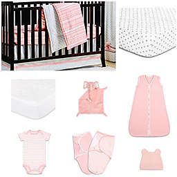 The PeanutShell™ A Tribe Called Cute 11-Piece Sleep Essentials Crib Set in Coral