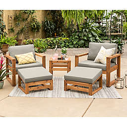 Forest Gate Otto 5-Piece Acacia Wood Patio Chat Set in Brown