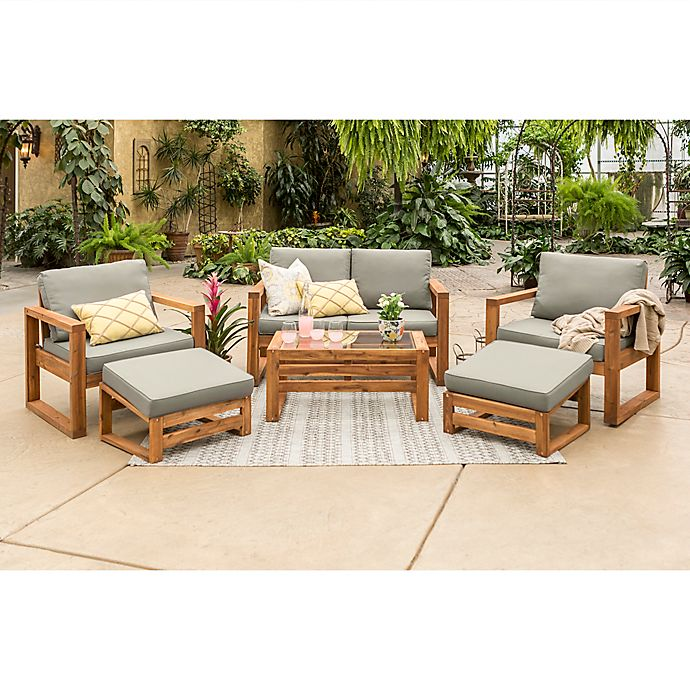 Alternate image 1 for Forest Gate Otto 6-Piece Acacia Wood Patio Chat Set in Brown