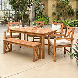 Forest Gate Aspen Acacia Wood 6-Piece Patio Dining Set with Cushions in Brown