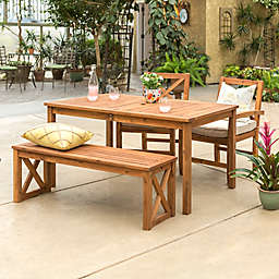Forest Gate Aspen Acacia Wood 4-Piece Patio Dining Set with Cushions