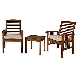 Forest Gate Arvada 3-Piece Acacia Wood Outdoor Chat Set in Dark Brown