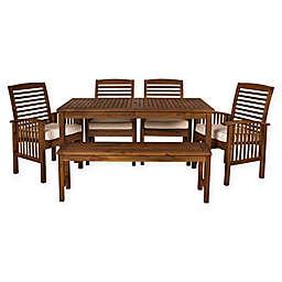 Forest Gate Arvada 6-Piece Acacia Wood Outdoor Dining Set in Dark Brown