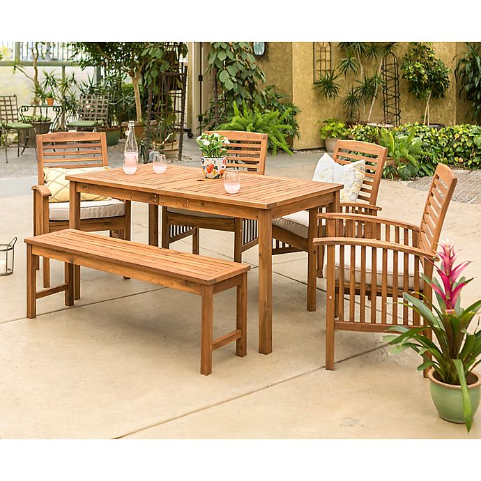 Alternate image 1 for Forest Gate Arvada 6-Piece Acacia Wood Outdoor Dining Set in Brown