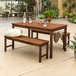 Forest Gate Arvada 3-Piece Acacia Wood Outdoor Picnic Set in Brown