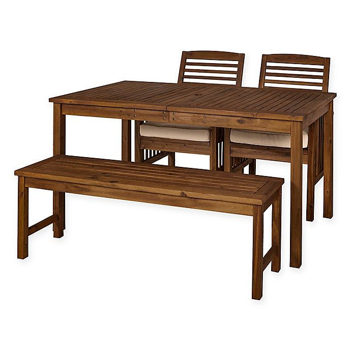 Alternate image 1 for Forest Gate Arvada 4-Piece Acacia Wood Outdoor Dining Set in Dark Brown