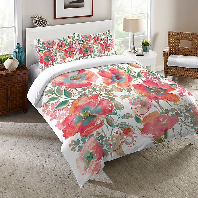 Alternate image 1 for Laural Home® Bohemian Poppies Twin Comforter in Pink