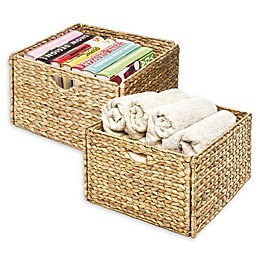 Seville Classics Woven Hyacinth 2-Pack Storage Cube Basket