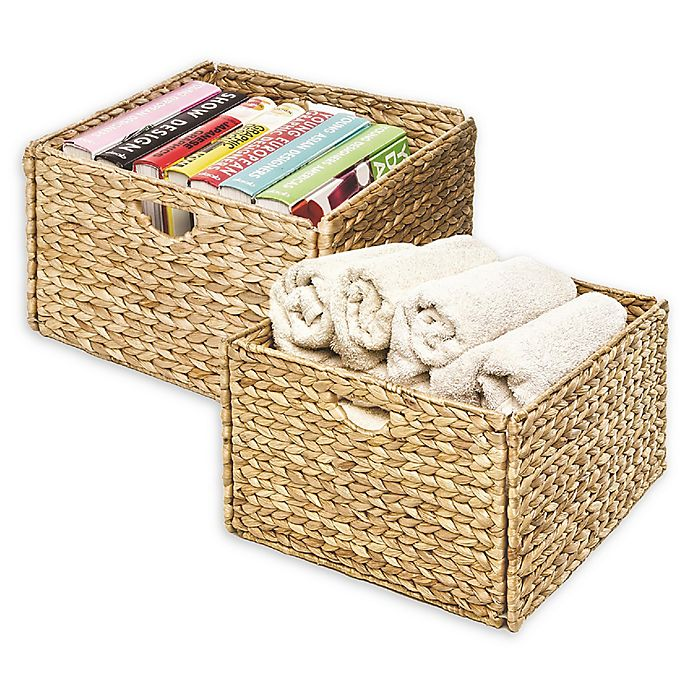 Alternate image 1 for Seville Classics Woven Hyacinth 2-Pack Storage Cube Basket