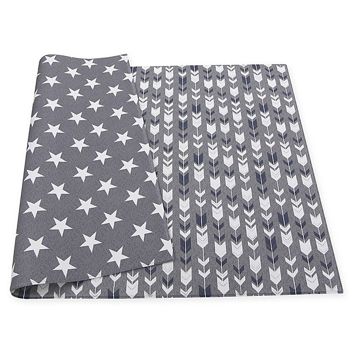 Alternate image 1 for BABY CARE™ Reversible Arrows and Stars Playmat in Grey