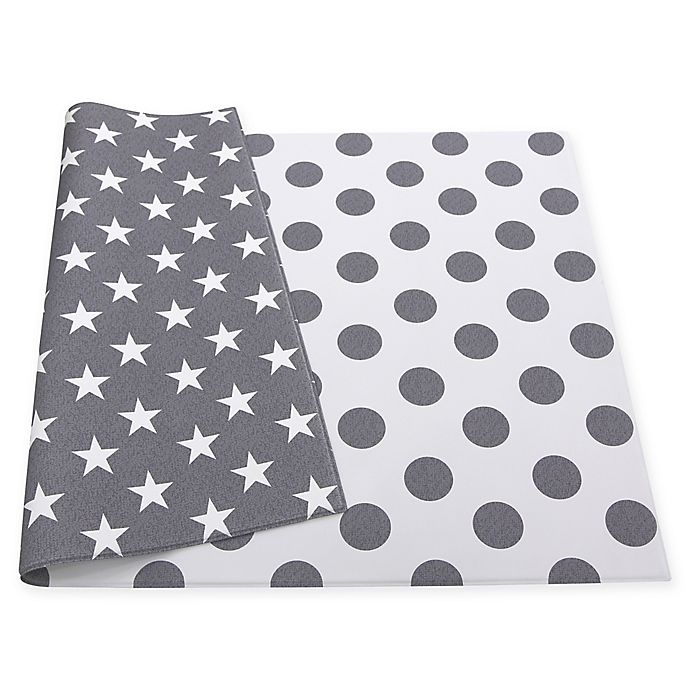 Alternate image 1 for BABY CARE™ Dots and Stars Reversible Baby Play Mat in Grey