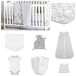 The PeanutShell™ Damask Dot 11-Piece Sleep Essentials Crib Set in Grey