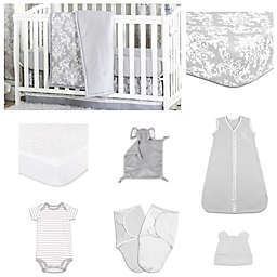 The Peanut Shell® Damask Dot Crib Bedding Collection
