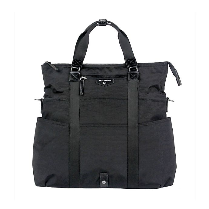 Alternate image 1 for TWELVElittle Unisex 3-in-1 Foldover Tote Diaper Bag in Black