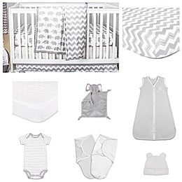The Peanut Shell™ Ellie Chevron 11-Piece Sleep Essentials Crib Set in Grey