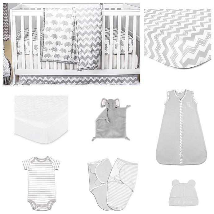 Alternate image 1 for The Peanut Shell™ Ellie Chevron 11-Piece Sleep Essentials Crib Set in Grey