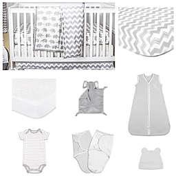 The Peanut Shell® Ellie Chevron Crib Bedding Collection in Grey