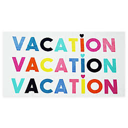 """""""Vacation"""" Beach Towel in White"""