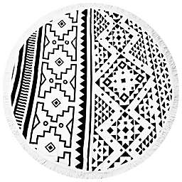 Navajo Inspired Print Round Beach Towel in White