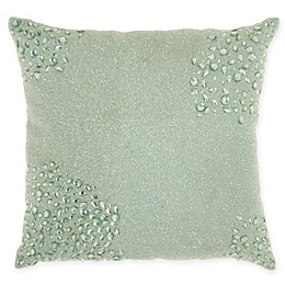Mina Victory By Nourison Fully Beaded Square Throw Pillow in Seafoam