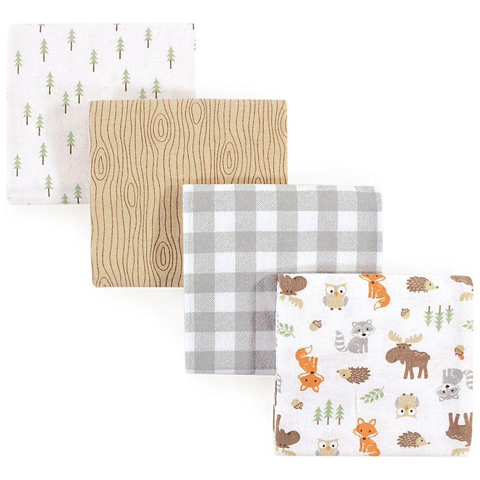 Alternate image 1 for Hudson Baby® Woodland Flannel 4-Pack Receiving Blankets in Green