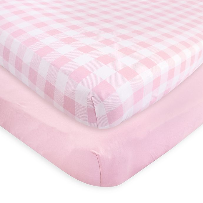 Alternate image 1 for Touched by Nature Organic Cotton Fitted Crib Sheets in Pink (Set of 2)