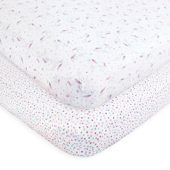 Alternate image 1 for Hudson Baby® 2-Pack Magical Unicorn Fitted Crib Sheets in Pink