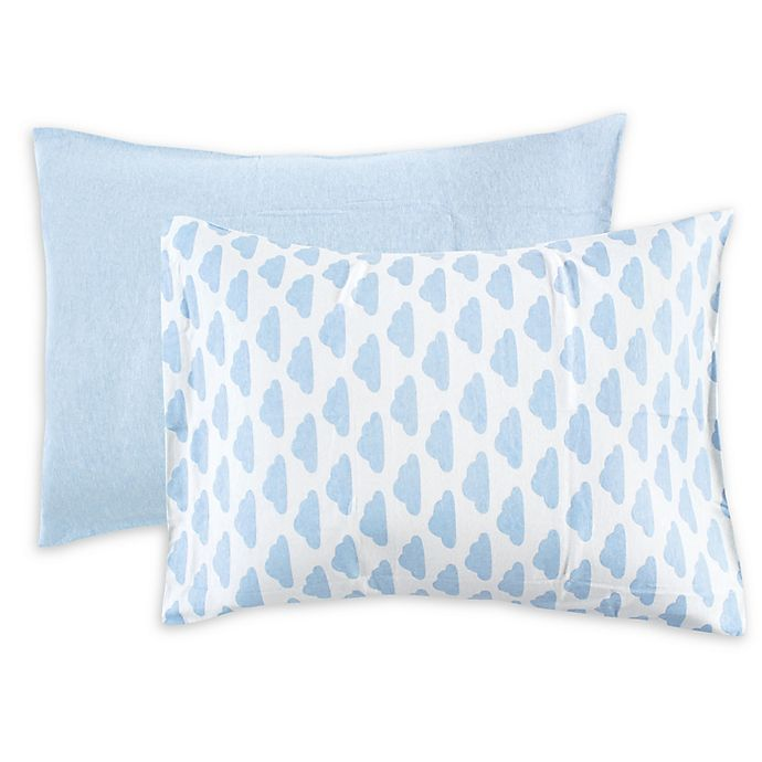 Alternate image 1 for Hudson Baby® Cloud Toddler Pillowcases in Blue (Set of 2)