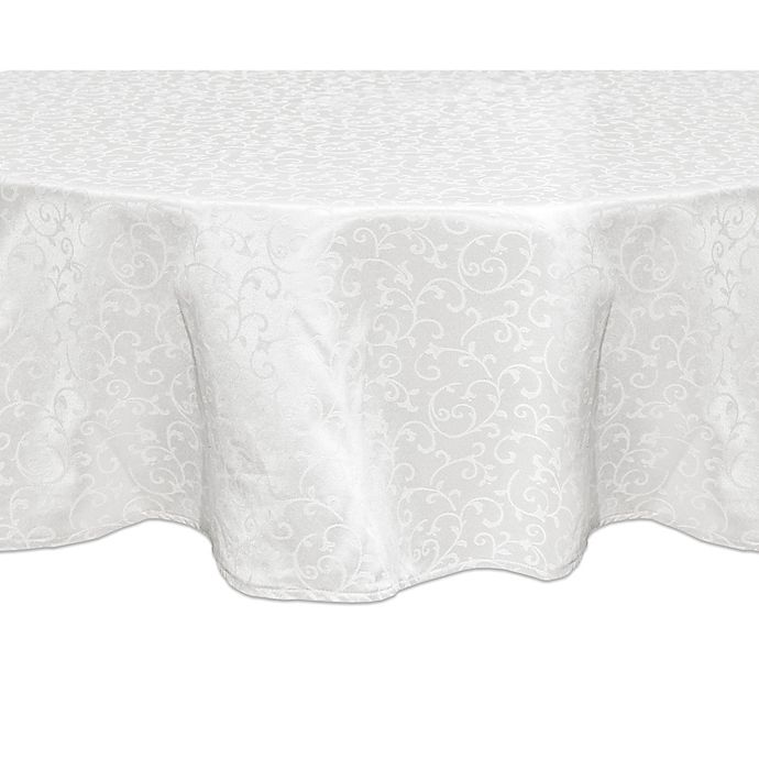 Alternate image 1 for Lenox® Opal Innocence™ 90-Inch Round Tablecloth in White