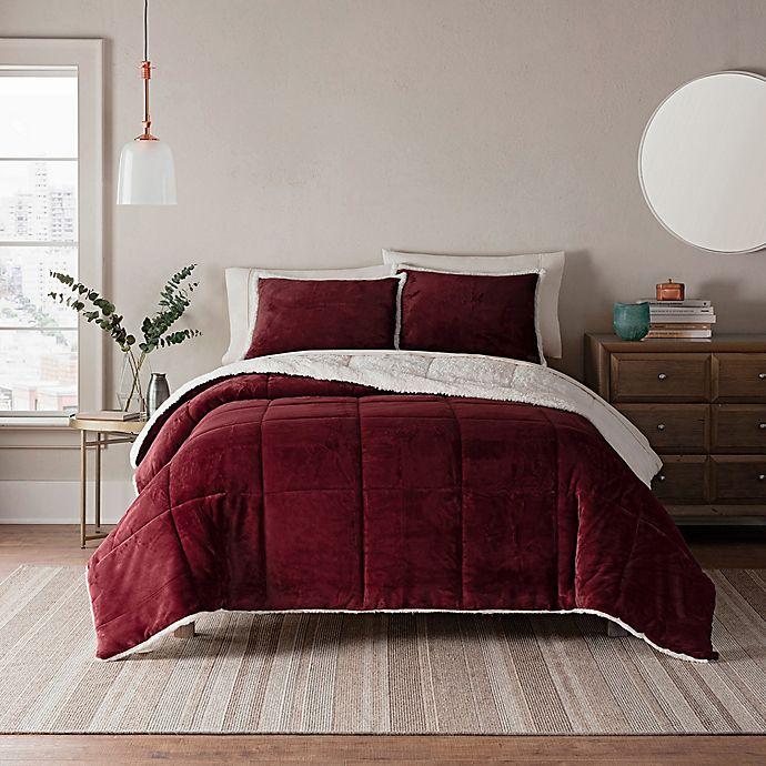 Alternate image 1 for UGG® Clifton 3-Piece Reversible King Comforter Set in Garnet