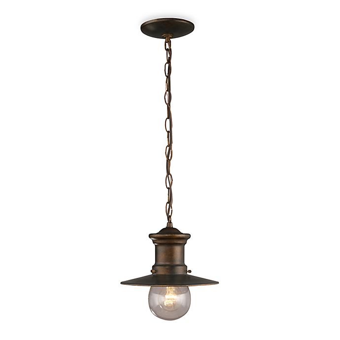 Alternate image 1 for ELK Lighting Maritime 1-Light Outdoor Pendant in Hazelnut Bronze and Clear Seeded Glass