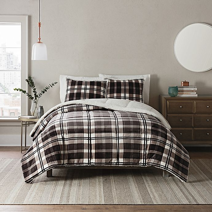 Alternate image 1 for UGG® Clifton 3-Piece Reversible Full/Queen Comforter Set in Charcoal Plaid