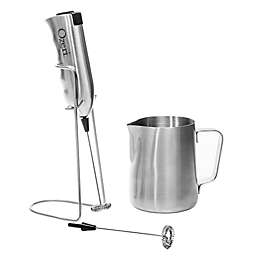 Ozeri Stainless Steel Milk Frother, Whisk and Frothing Pitcher Set