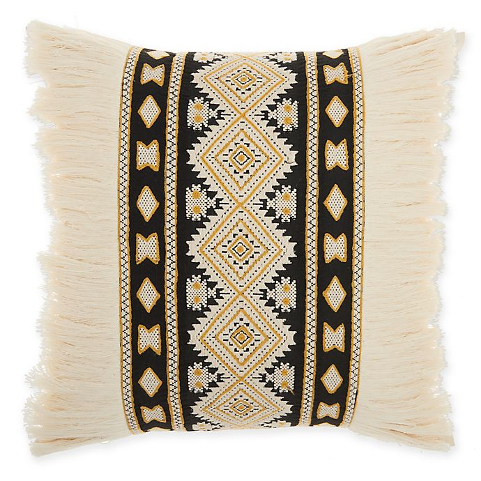 Alternate image 1 for Mina Victory by Nourison Center Diamonds Square Throw Pillow in Cream