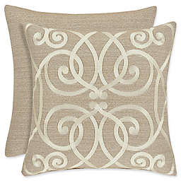 J. Queen New York Romano Embroidered Damask Square Throw Pillow in Taupe