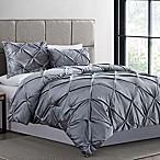 Crushed Velvet 3-Piece King Comforter Set in Grey